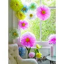 Pompones flores tonos pastel, 3 u diferentes medidas - Ítem4