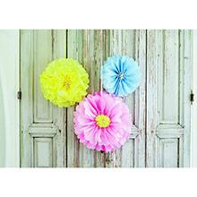 Pompones flores tonos pastel, 3 u diferentes medidas - Ítem5