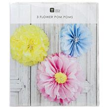 Pompones flores tonos pastel, 3 u diferentes medidas - Ítem6