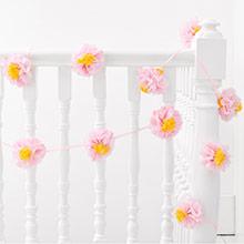 Guirnalda flores papel rosa - Ítem1