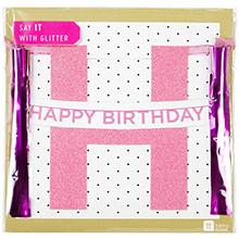 Guirnalda Happy Birthday rosa con purpurina - Ítem1