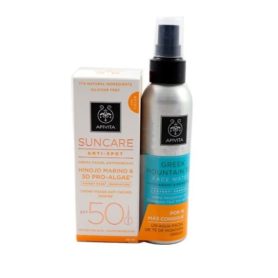 APIVITA SUNCARE ANTI-SPOT SPF50 CREMA COLOR 50 ML + AGUA FACIAL