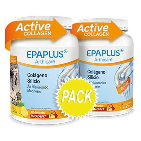 EPAPLUS DUPLO Colágeno + Silicio (+ Hialurónico + Magnesio + Vitaminas) Sabor Limón, 2 x 326 g