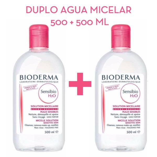 Bioderma Duplo Sensibio H2O solución micelar Pack Oferta 500 + 500 ml