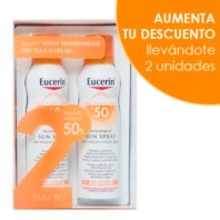 Eucerin Sun Protection SPF50 Spray Toque Seco, Duplo 2x200 ml. | Farmaconfianza