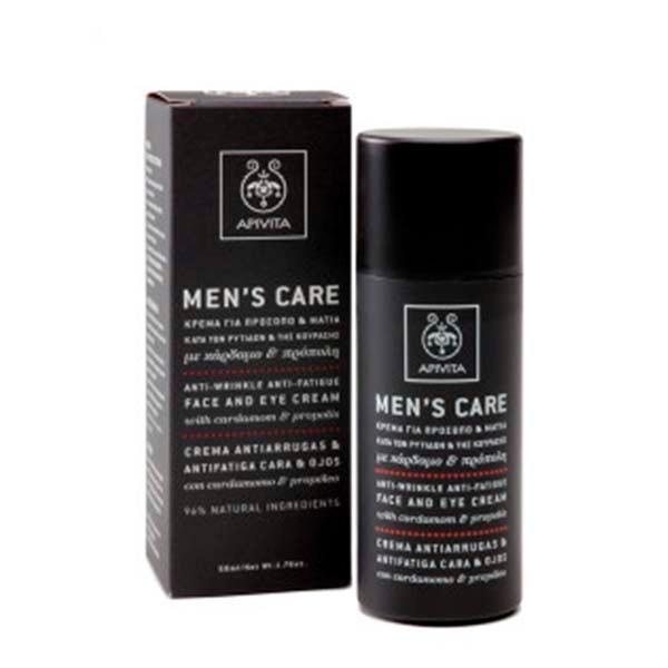 Apivita Men's care Crema Antiarrugas Cara y Ojos, 50 ml. ! Farmaconfianza