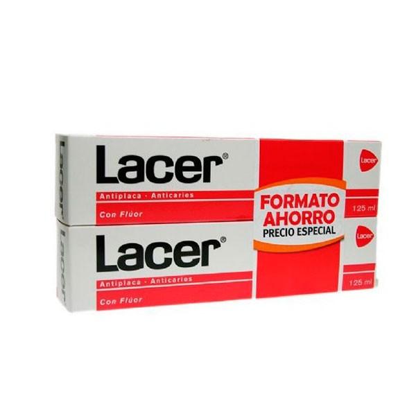 Lacer Fluor Pasta dentífrica, Duplo 125 ml x 2 ! Farmaconfianza