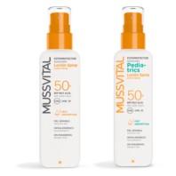 Mussvital Pack Familiar Locion Spray SPF50 + Loción Pediatrics Spray SPF50 + REGALO Frisbee Minions