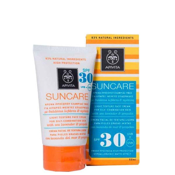 Apivita Suncare Crema Facial Textura Ligera Pieles Mixtas Grasas SPF 30, 50 ml ! Farmaconfianza
