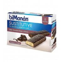 Bimanan Sustitutive Barrita Chocolate Negro y Blanco, 8 barritas | Compra Online