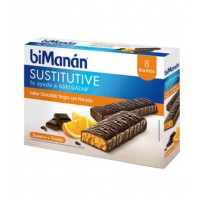 Bimanan Sustitutive Barrita Chocolate y Naranja, 8 barritas | Compra Online
