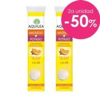 AQUILEA Magnesio + Potasio DUPLO comprimidos efervescentes sabor naranja, 2x14 comprimidos