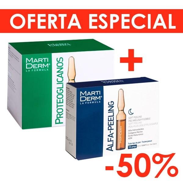 Martiderm Proteoglicanos Hidratante y Reafirmante Piel Normal y Seca, 30 ampollas + Martiderm Ampollas Alfa-Pelling, 10 ampollas