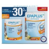 EPAPLUS ECOPACK Colágeno + Silicio (+ Hialurónico + Mg + Vitaminas) Sabor Vainilla, 2 x 334g