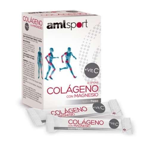 AMLSport Colágeno con Magnesio y Vitamina C, 20 sticks sabor fresa
