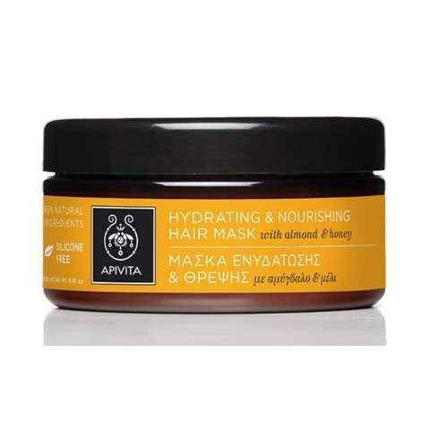 Apivita Mascarilla Capilar Hidratante y Nutritiva con almendra y miel, 200 ml