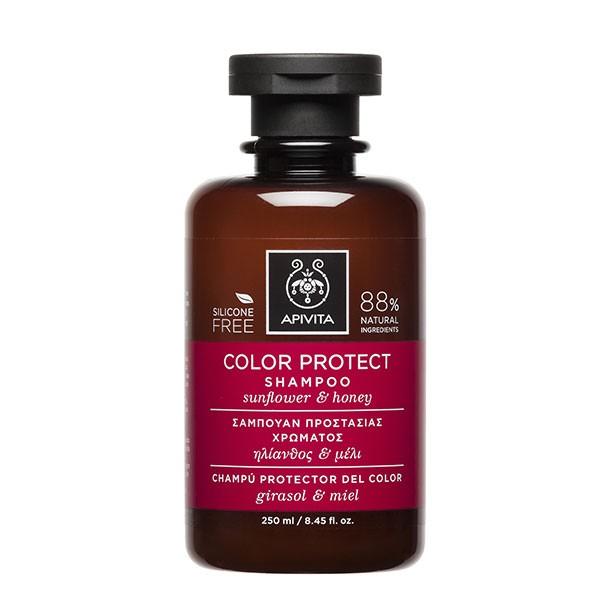 Apivita Champú Protector del Color con girasol y miel, 250 ml.