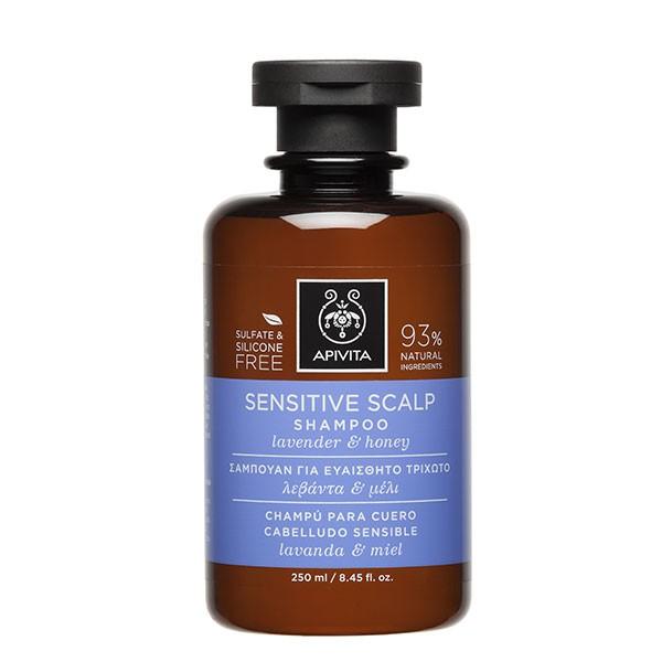 Apivita Propoline Champú para cuero cabelludo sensible con lavanda y miel, 250 ml.