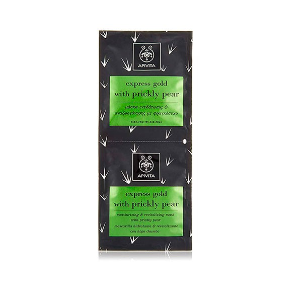 Apivita Express Gold Mascarilla hidratante y revitalizante con higo chumbo, 2x8ml
