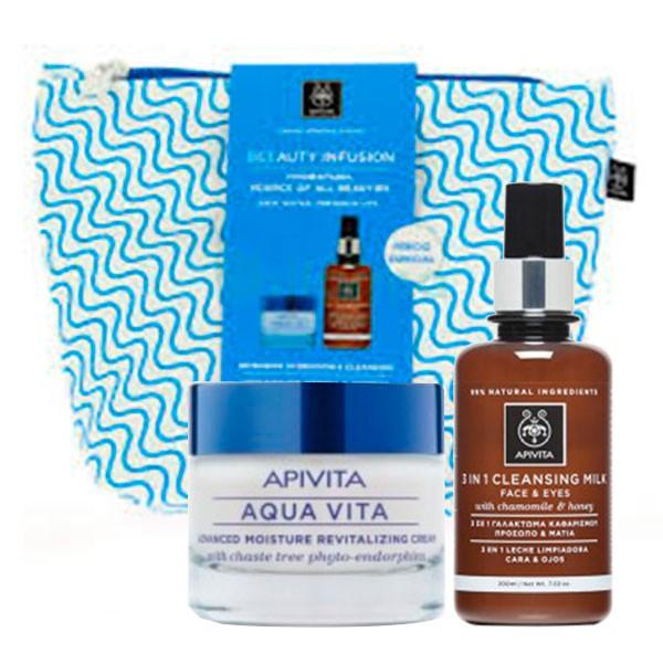 Apivita Aqua Vita Neceser Regalo Leche Limpiadora 3 en 1 + Crema Piel Normal Seca | Farmaconfianza | Farmacia Online