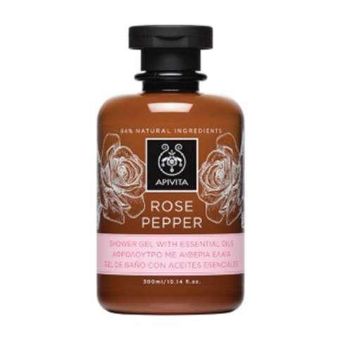 Apivita Rose Pepper Gel de Ducha con Aceites Esenciales, 300 ml.