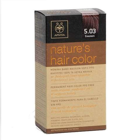 Apivita Tinte para el Cabello Nature`s Hair Color sin PPD, Color 5.03 Chocolate | Farmaconfianza