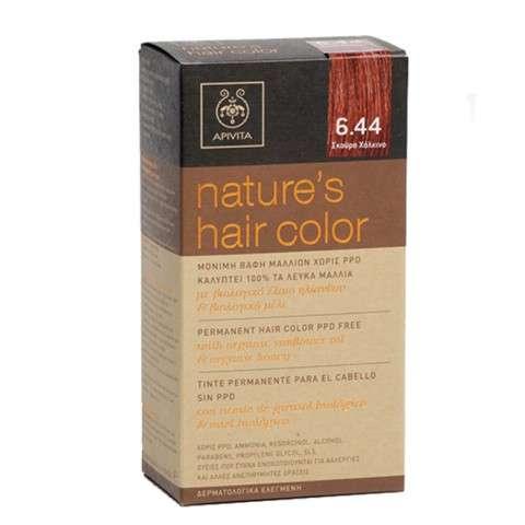 Apivita Tinte para el Cabello Color sin PPD, color 6.44 cobrizo oscuro