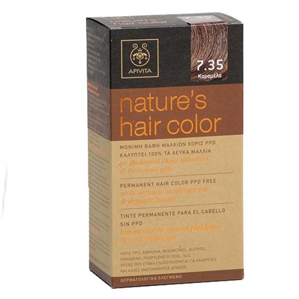 Apivita Tinte para el Cabello sin PPD, color 7.35 caramelo