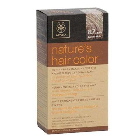 Apivita Tinte para el Cabello sin PPD, color 8.7 rubio claro beige