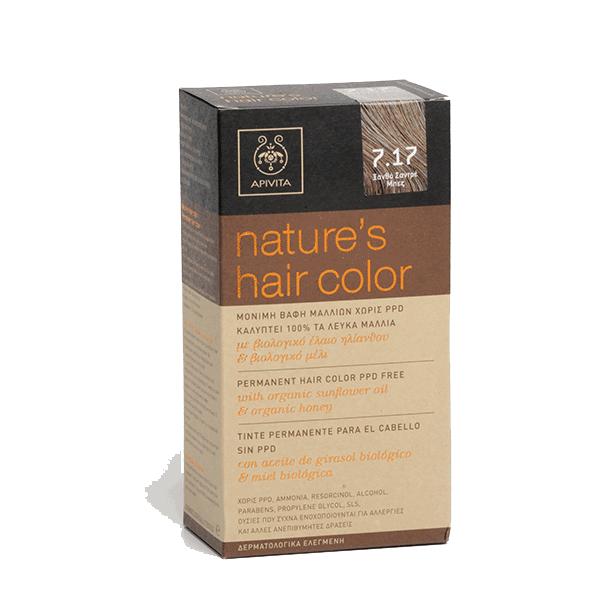 Apivita Tinte para el Cabello Nature's Hair Color sin PPD, color 7.17 Rubio Ceniza Beige