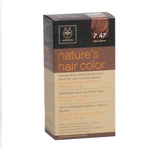 Apivita Tinte para el cabello sin PPD Color 7.47 Beige Ceniza Cobrizo | Farmaconfianza