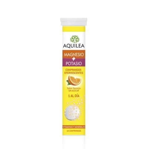 AQUILEA Magnesio + Potasio comprimidos efervescentes sabor naranja, 14 comprimidos