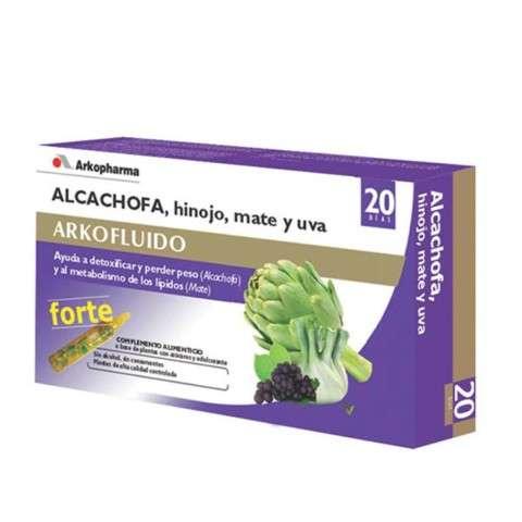 ARKOPHARMA Arkofluido Forte con Alcachofa, Hinojo, Mate y Uva, 20 ampollas.