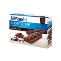 BIMANAN Barrita Sustitutive Chocolate Negro Fondant, 8 unidades