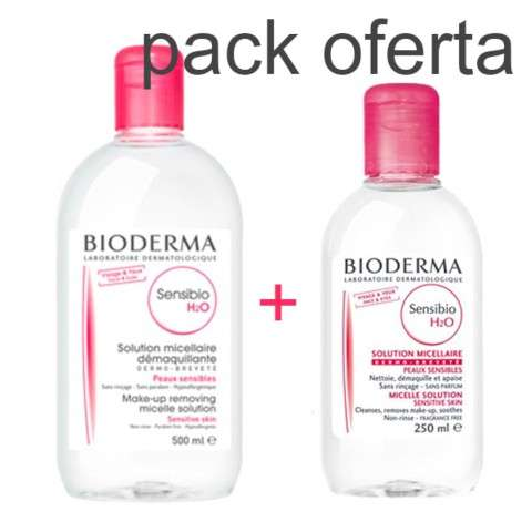 Bioderma Sensibio H2O solución micelar Pack Oferta 500 ml + 250 ml