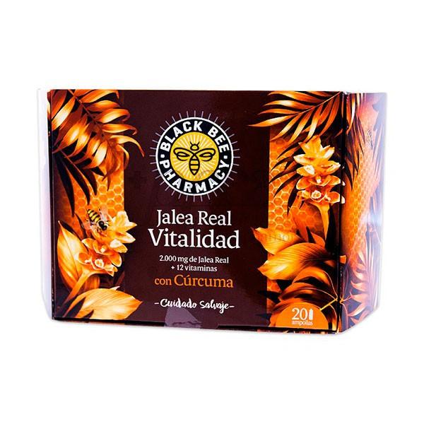 Black Bee Pharmacy Jalea Real Vitalidad con Cúrcuma, 20 ampollas | Farmaconfianza