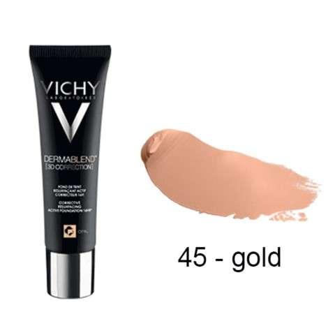 Vichy Dermablend Corrección 3D Fondo de Maquillaje tono Gold, 30 ml