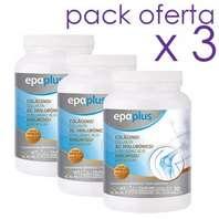 EPAPLUS Colágeno + Hialurónico + Magnesio + Vitaminas Sabor Vainilla, 3 x 325 g
