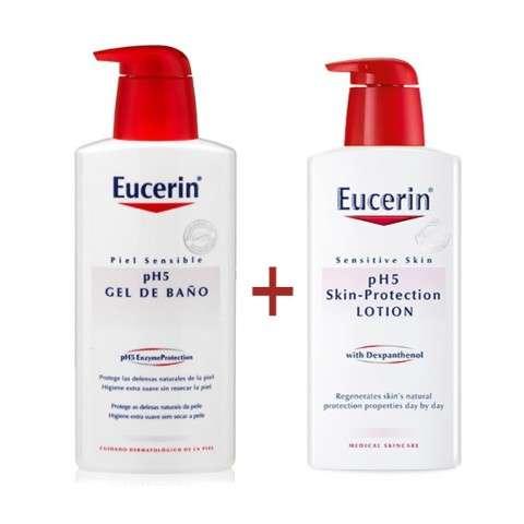 Eucerin pH5 Pack Oferta Skin-Protection Loción 400 ml + Skin-Protection Gel de Baño, 400 ml