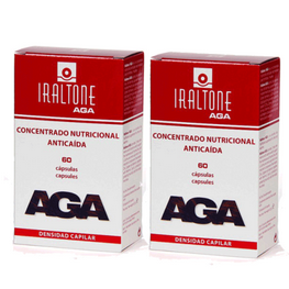 IRALTONE AGA Concentrado Nutricional Anticaída DUPLO, 2x60 cápsulas + 2x15 cápsulas REGALO.