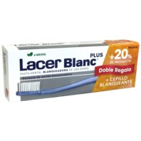 LacerBlanc Plus Pack Pasta Dental Blanqueadora d-Menta 125 ml + DOBLE REGALO +20% Producto + Cepillo Blanqueante