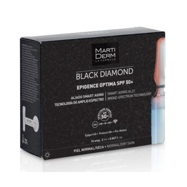 Martiderm Black Diamond Epigence Optima SPF50+, 10 ampollas | Farmaconfianza