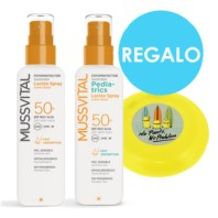 Mussvital Pack Familiar Locion Spray SPF50 + Loción Pediatrics Spray SPF50 + REGALO Frisbee Minions