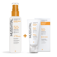 Mussvital Pack Oferta Fluido Facial Antiedad SPF50, 50 ml + Spray Corporal SPF50, 200 ml.