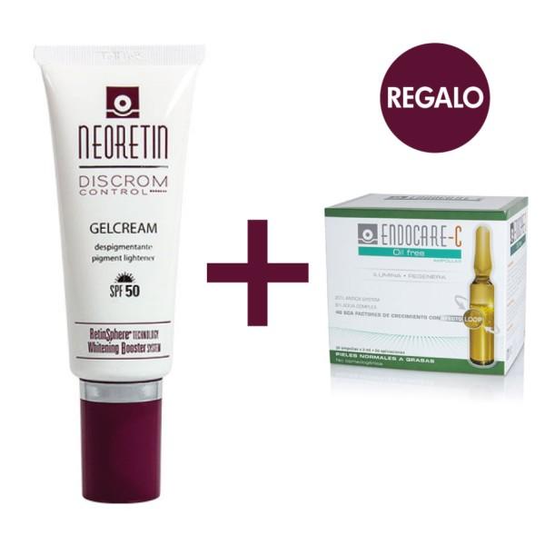 Neoretin Pack Discrom Gel Crema SPF50 40 ml + REGALO Endocare-C Oil Free, 7 ampollas ! Farmaconfianza