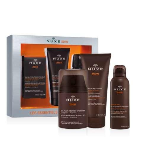 Nuxe Men Cofre Hombre Gel Hidratante Multifunción, 50 ml + Gel ducha Multi-Usos, 100 ml + Gel de Afeitar Anti-Irritaciones, 35 ml.