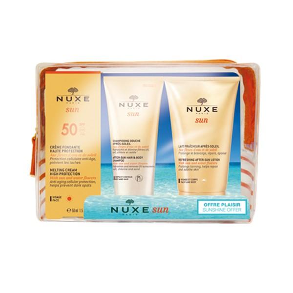 Nuxe Sun Cofre de Viaje Crema Fundente SPF50 + Champú-Gel After sun + Leche After-Sun Rostro y Cuerpo