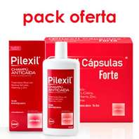 Pilexil Forte Anticaída, 100 cápsulas + Pielxil Champú Anticaída, 500 ml.