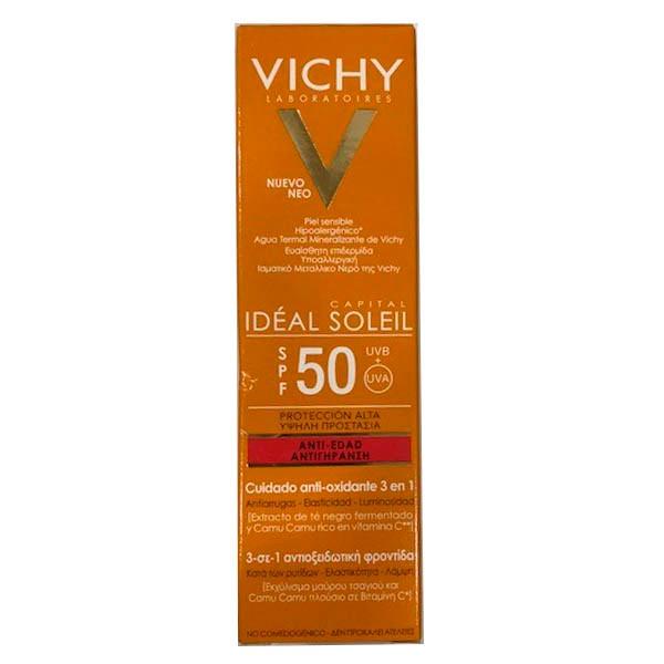 Vichy Ideal Soleil Protector Anti-edad SPF 50, 50 ml|Farmaconfianza
