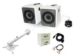 KIT 1 ACCESORIOS SOPORTE PARED+ CAJA CONEX. VGA/AUDIO+SOUNDBAR 60W BT